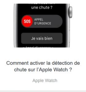 activer la détection de chute Apple Watch