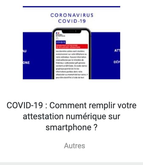 Tutoriel attestation numérique COVID 19
